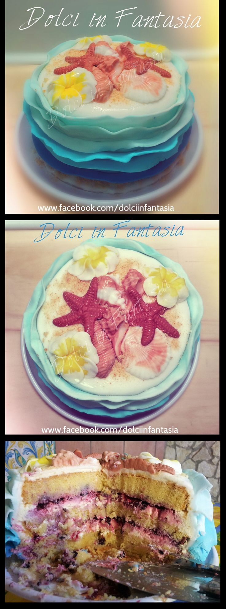Summer Time cake - pan di spagna alla vaniglia, cheese cream, frutti di bosco/  Vanilla sponge cake, cheese cream, berries #summertime #conchiglie #summer #cake #shells