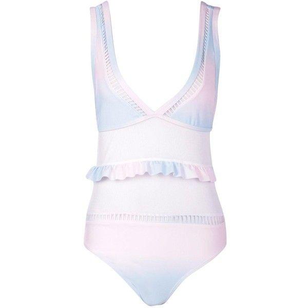 Boohoo Estonia Ombre Frill Mesh Swimsuit (€36) ❤ liked on Polyvore featuring swimwear, bikinis, 2 piece high waisted swimsuit, high waisted two piece swimsuit, two piece swimsuits, swim suits and high-waisted bikinis