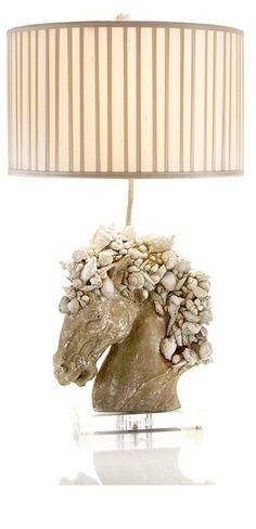 Seashell horse head lamp