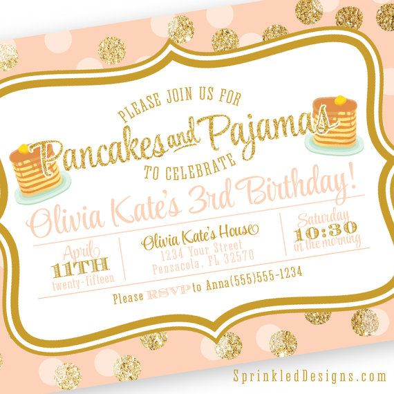 Pancakes & Pajamas Birthday Party Invitation by SprinkledDesign