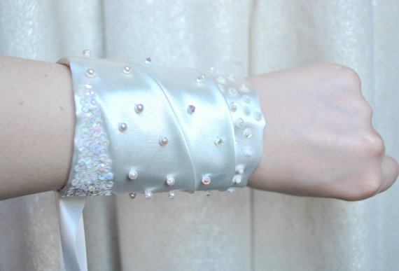 Hand Beaded Ivory Bridal Cuff by jogeorgedesigns on Etsy, £34.99