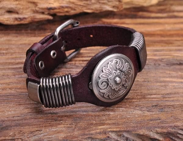 Brown Biker Vintage Floral Studded Men's Leather Wristband Cuff