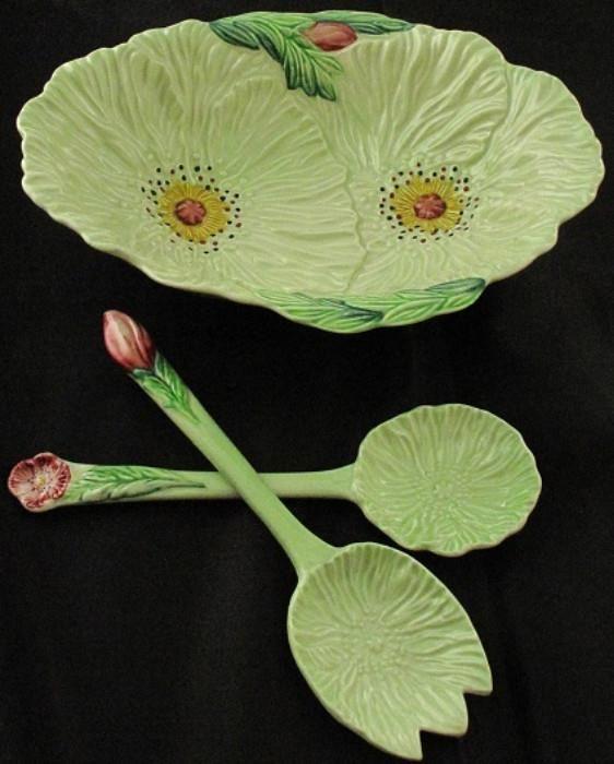 Carlton Ware 1950's England Hand Painted Porcelain 3 pcs. Salad Set