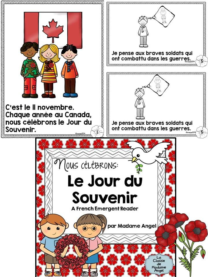 Jour du Souvenir - A Remembrance Day emergent reader in French in celebration of November 11. $