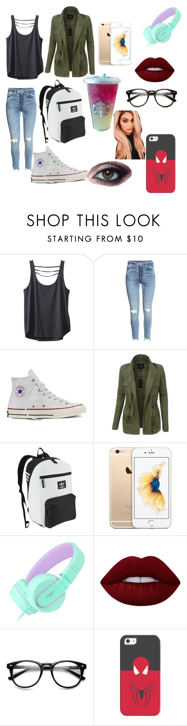 """""""Julie Fishers / Juno ( symbiote OC / Spider-Man OC)"""" by karabear3256 ❤ liked on Polyvore featuring Kavu, Converse, LE3NO, adidas Originals, Lime Crime, Casetify and Justin Bieber"""