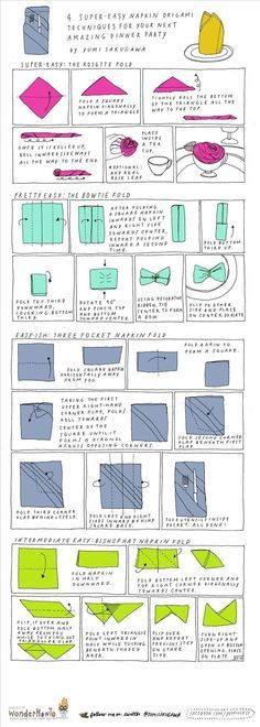 The three pocket fold seems pretty simplwe too!! 4 Super Easy Napkin-Folding Techniques for Your Next Dinner Party « The Secret Yumiverse