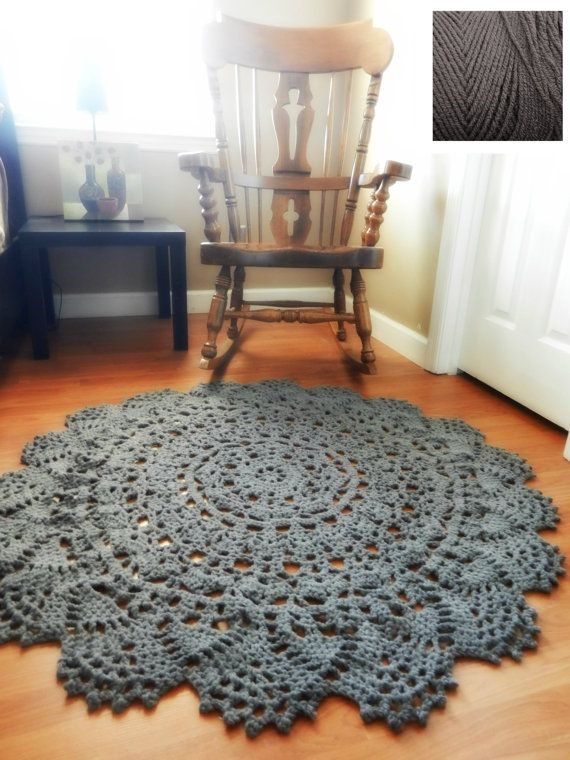 Crochet Doily Rug floor charcoal gray grey Lace by EvaVillain, $125.00 56""