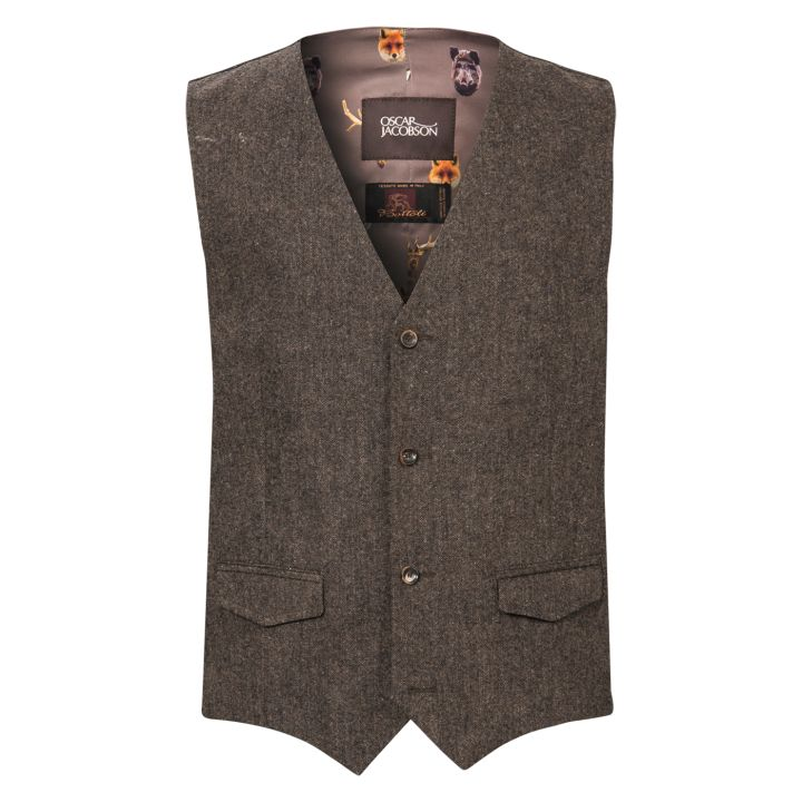 Oscar Jacobson - Cullen Waistcoat (Brown) (Front View)