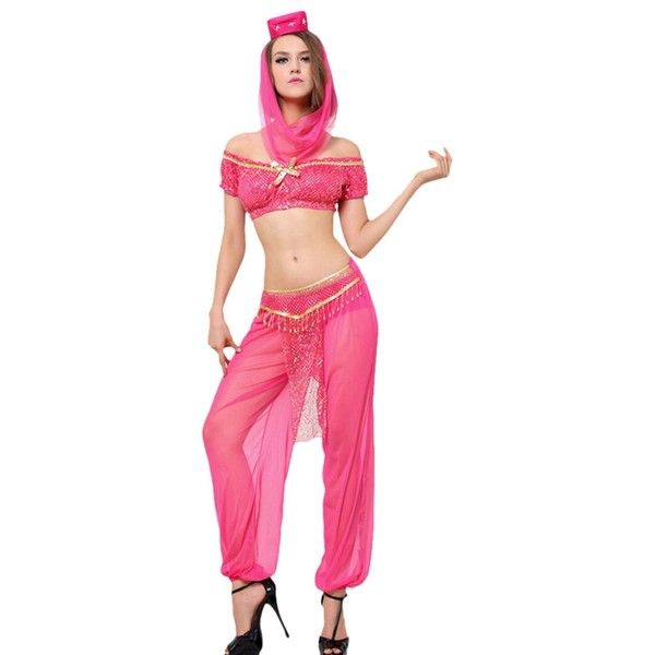 Womens Off Shoulder Sheer Sexy Indian Dancing Costume Rose Red (£22) ❤ liked on Polyvore featuring costumes, rose red, ladies halloween costumes, sexy women halloween costumes, pink costume, womens indian halloween costumes and womens halloween costumes