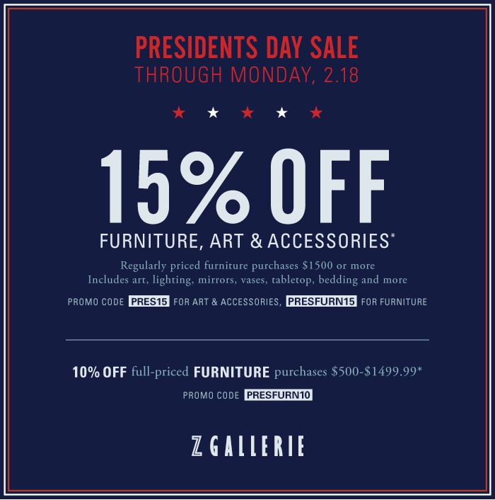 #ZGallerie Presidents Day Starts Now! Now Through Monday, Take 15% Off Art