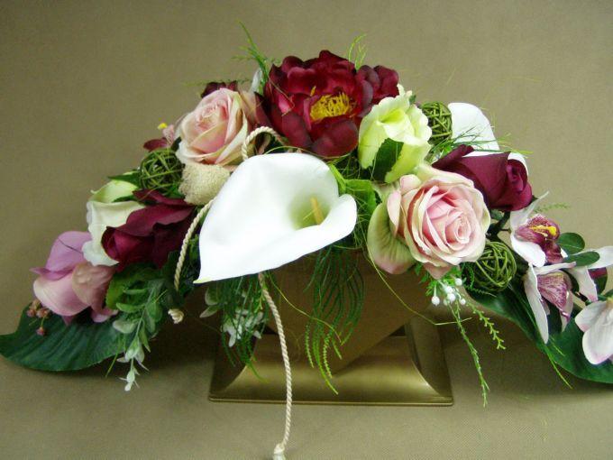PIWONIA oberżyna ORCHIDEA RÓŻE SERCE 663.2 stroik na grób Kompozycje kwiatowe Marko604