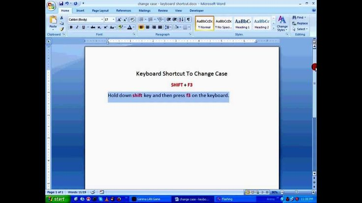 how to change case in word keyboard shortcut
