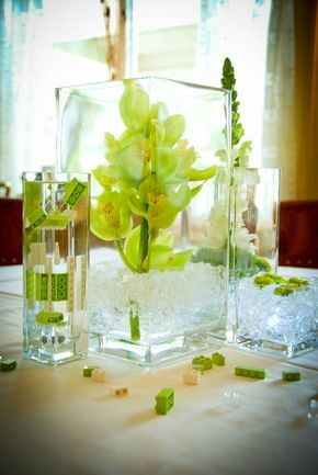 LEGOs!!! Fantastic way to highlight the lime-green cymbidium orchids by using lime-green LEGOs.  Awesome!