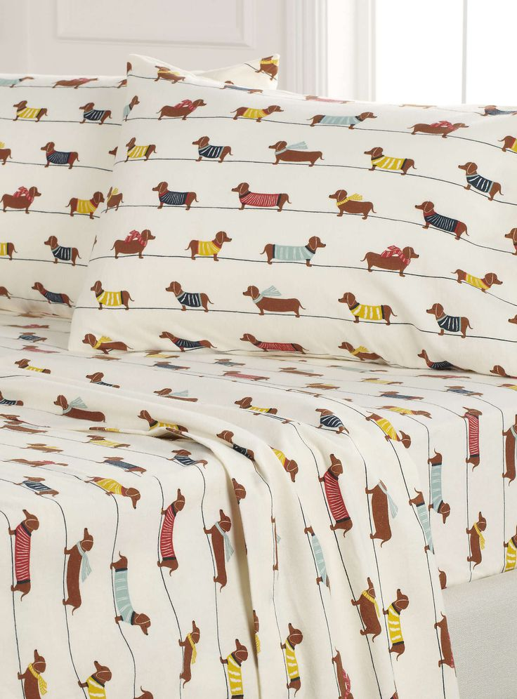 Dachshund dogs flannel sheet - Sheets & Pillowcases | Simons