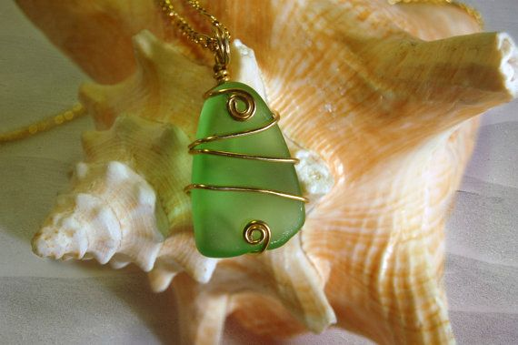 Sea Glass Necklace Green Sea Glass Sea Glass by LovesShellsBeads