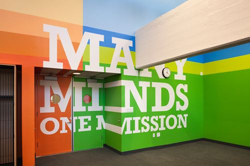 An incredible school. Project designed by Paula Scher.