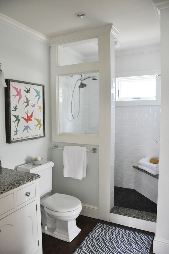 A little added natural light by opening up the shower wall with a glass panel.