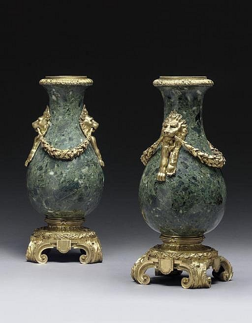 A PAIR OF FRENCH ORMOLU AND GREEN MARBLE VASES