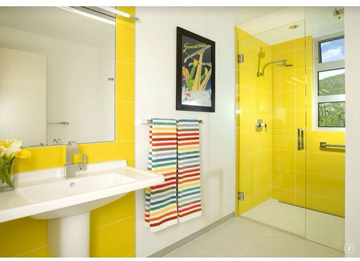 Yellow Tiles Make A Big Visual Impact In The Modern Bathroom Design Allen Guerra Architecture