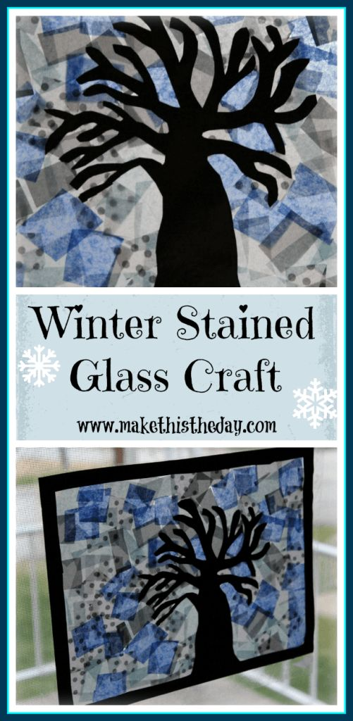 makethistheday.com  Winter Tree Silhouette Stained Glass Craft