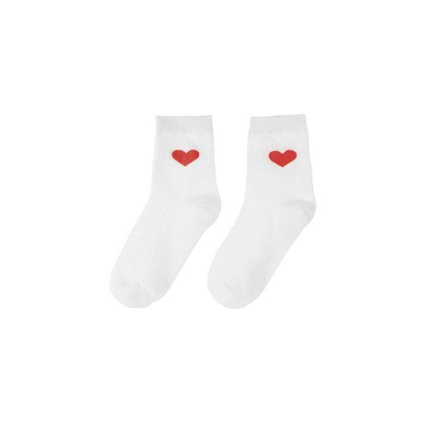 Heart Print Socks ($2.18) ❤ liked on Polyvore featuring intimates, hosiery, socks, ankle high socks, bunny socks, heart socks, cuff socks and summer socks