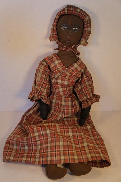 Black Cloth Doll, Painted Face, 1880, Country & Shaker Antiques, Harvard, MA