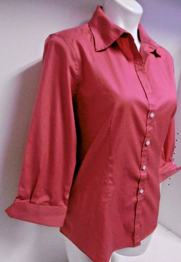 KIRKLAND WOMEN'S OXFORD 3/4 SLEEVE DRESS SHIRT BLOUSE XXL PINK TAILORED FIT B100 #KIRKLANDSIGNATURE #34SLEEVEOXFORDBLOUSE #EveningOccasionCasual