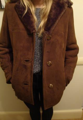 Vintage Suede Sheepskin Coat