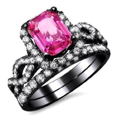 amazoncom 240ct emerald pink sapphire diamond engagement ring bridal set 18k black - Pink And Black Wedding Rings