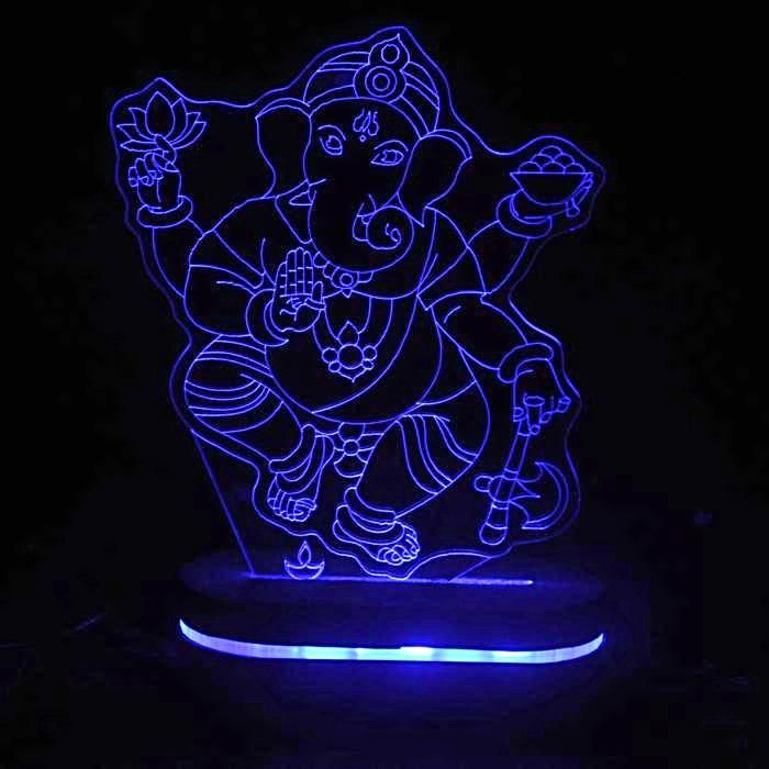 3d Lamp Lord Ganesha Optical Illusion Led Lamp Optical Illusions 3d Optical Illusions Illusions