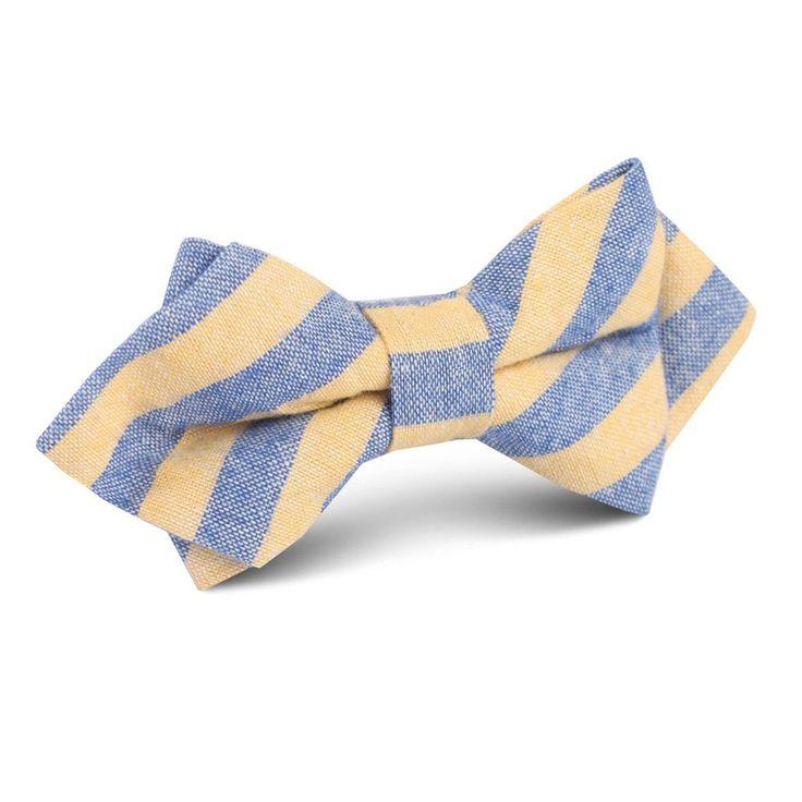 Yellow & Blue Bengal Linen Diamond Bow Tie