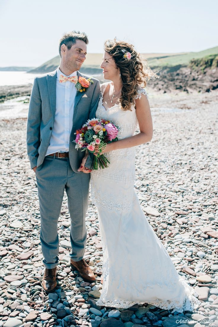 The Chilled Out Castle & Beach Wedding Manorbier Castle and a Jenny Packham dress