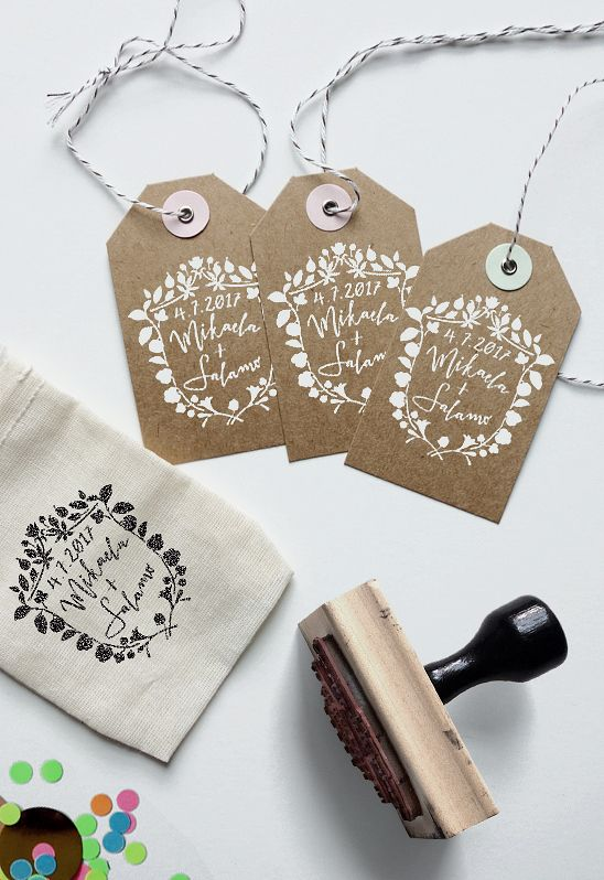 "Personalize your wedding with a custom logo! Use on envelopes, napkins, doilies, confetti packets, the possibilities are endless. Each stamp is 2"" x 2"", mounted on wood."