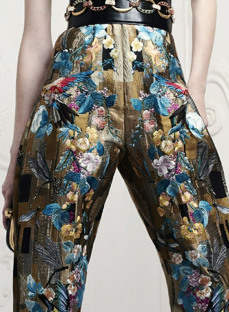 Alexander-Mcqueen - floral embroidered pants