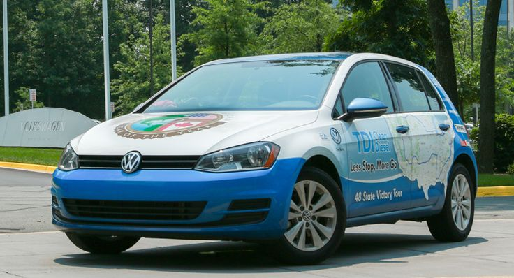 """A road trip across America and it Averaged 81.17 MPG – The new 2015 VW Golf TDI ! It broke the Guinness World Record for """"lowest fuel consumption—48 US contiguous States for a non-hybrid car"""", with an average of just over 81 mpg.  The 2015 Golf TDI Clean Diesel was driven 8,233.5 miles (13,250.5 km) around America over 16 days, averaging 81.17 mpg (2.9 l/100 km or 97.5 mpg UK..."""