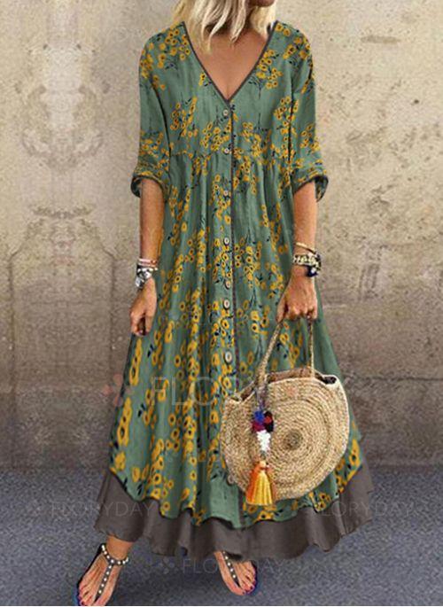 Dress – $46.99 – Floral V-Neckline Half Sleeve Maxi A-line Dress (1955419110)
