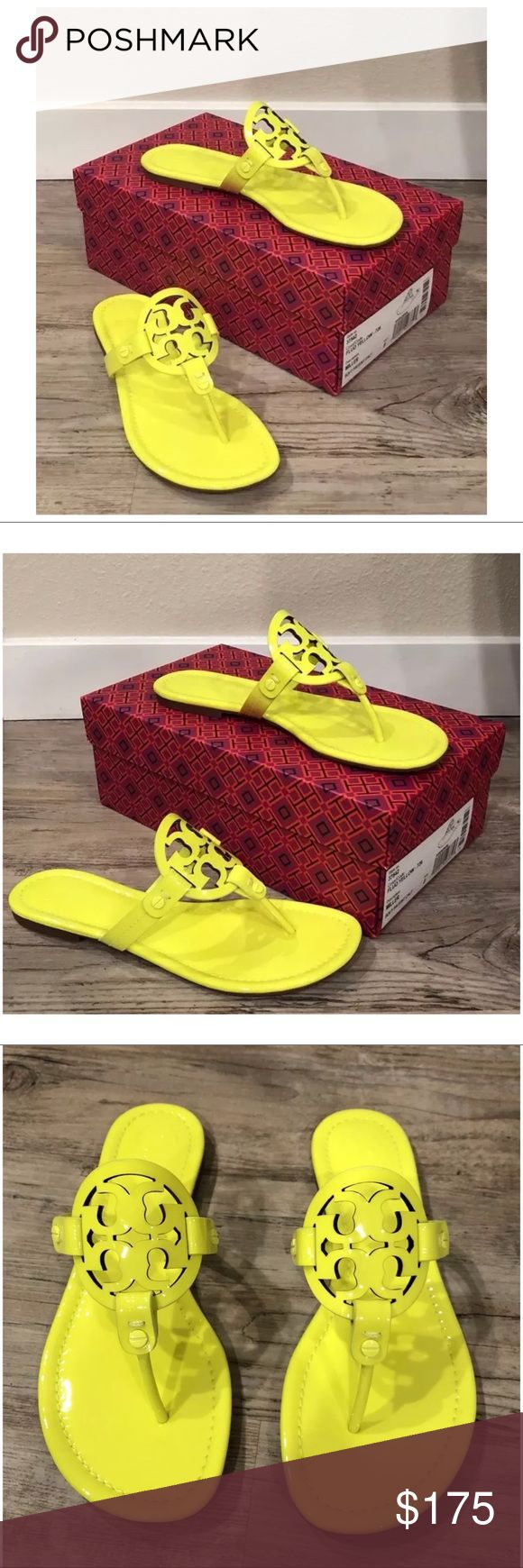 NEW Tory Burch Miller Fluo Yellow Flip Flops NEW Tory Burch Miller Fluo Yellow Patent Leather Logo Sandals/Flip Flops Size 8~  Size 8  Item condition/notes: New in box. Does not have dust bag. Fluo yellow Price is firm Tory Burch Shoes Sandals