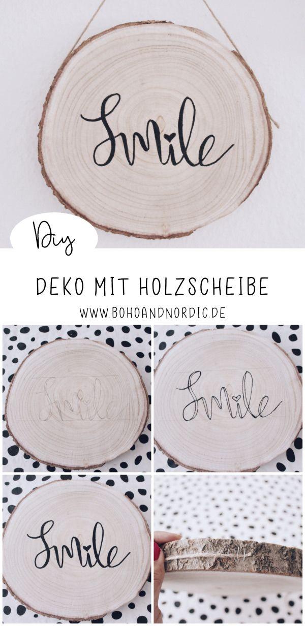 DIY Deko mit Holzscheibe. Diy Wanddeko selber machen. Dekoschild basteln. DIY Ge…