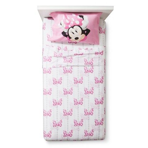 ONLY 132 THREAD COUNT, BUT COTTON...Disney® Minnie Mouse Sheet Set  - White (Twin)
