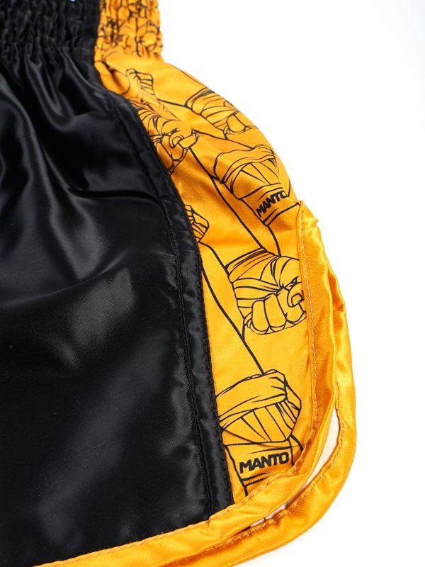 ΣΟΡΤΣΑΚΙ MUAY THAI KICK MANTO FISTS - BLACK/YELLOW | ManTo Muay Thai Shorts | Σορτσάκια Muay Thai | Πυγμαχία - Πολεμικές Τέχνες