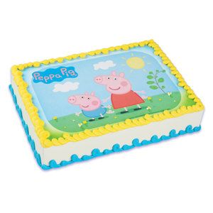 Peppa Pig Edible Image Cake Topper Birthday Party by BigCatCrafts, $6.95