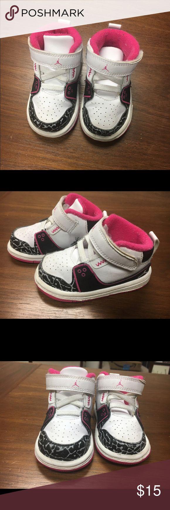Size 4C pink and white Jordan sneakers Size 4C pink and white Jordan sneakers Jordan Shoes Sneakers