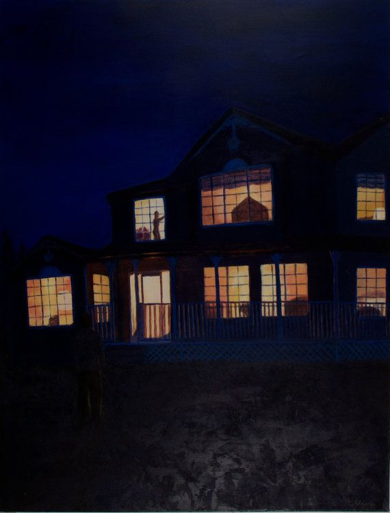 First Date 8 x 10 Matted House at Night Print by ElizabethCleary, $19.00