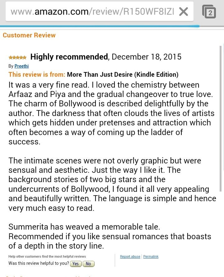 A five star review for More Than Just Desire! A story set in glamorous Bollywood. http://www.amazon.com/review/R150WF8IZFVVDM