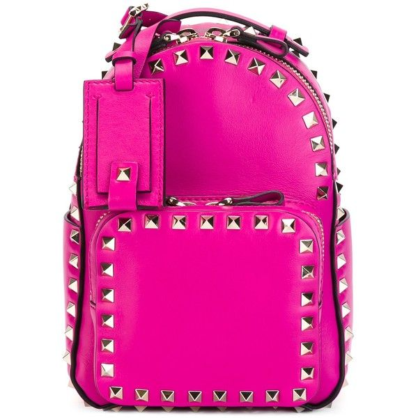 Valentino Garavani Small Rockstud Backpack ($1,910) ❤ liked on Polyvore featuring bags, backpacks, fuxia, backpacks bags, knapsack bag, mini backpack, valentino bags and decorating bags
