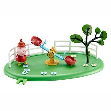 Peppa Pig Playground Pals - See-Saw. Working see saw. Connects to other playground sets. Comes with Peppa figure. Compatible with other Peppa Pig figures. Licensed Merchandise.