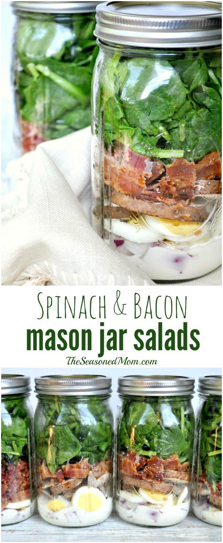 Spinach and Bacon Mason Jar Salads