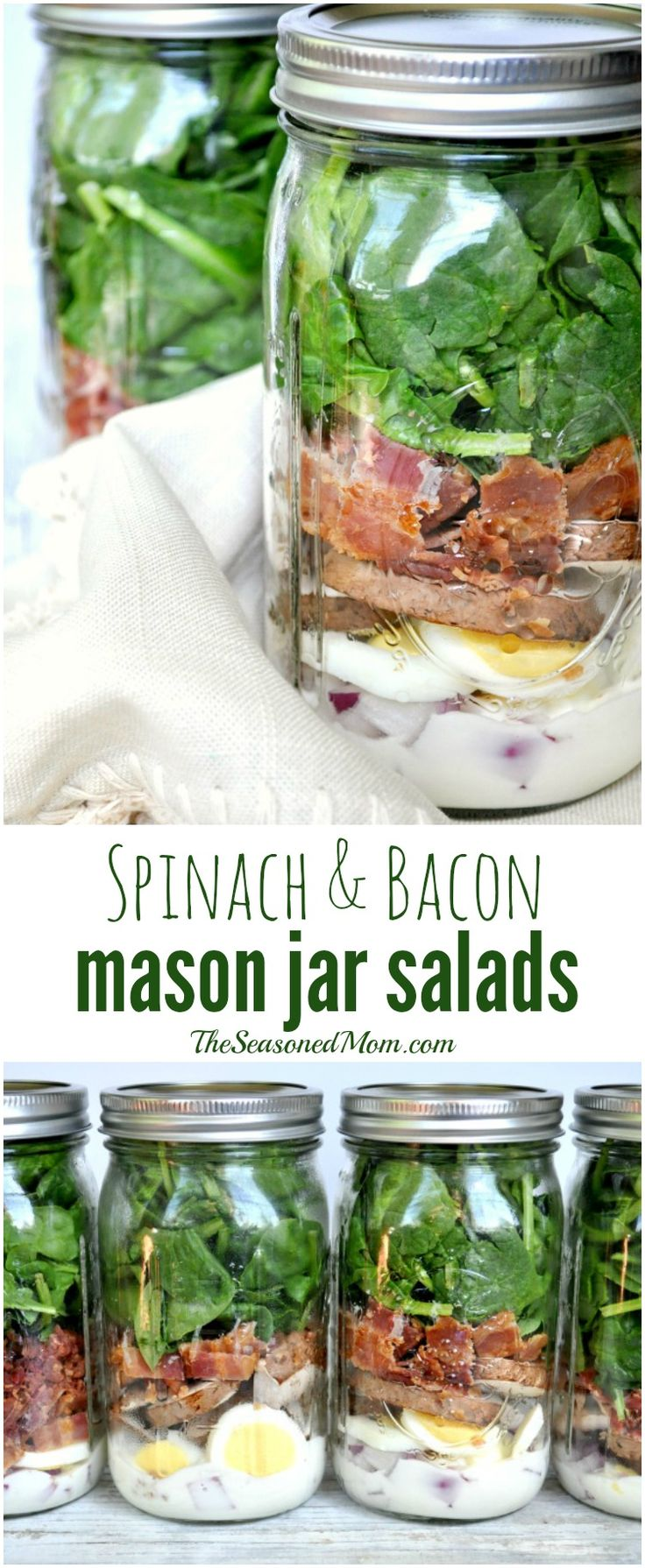 Spinach and bacon mason jar salad.