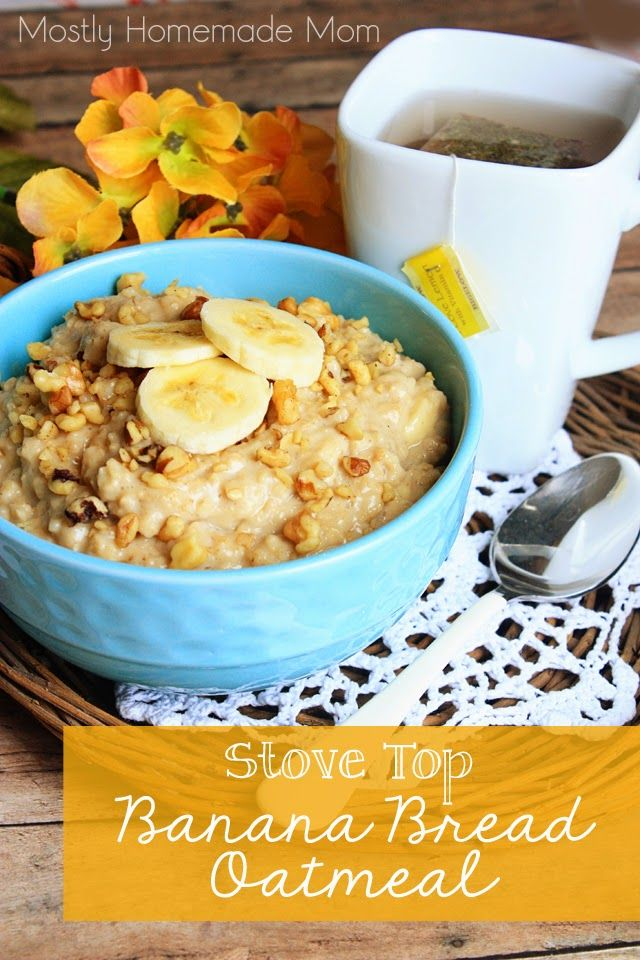 Stove Top Banana Bread Oatmeal - The perfect sick day breakfast - stovetop oatmeal with bananas, brown sugar, and walnuts with a cup of Bigelow tea. Feel better!