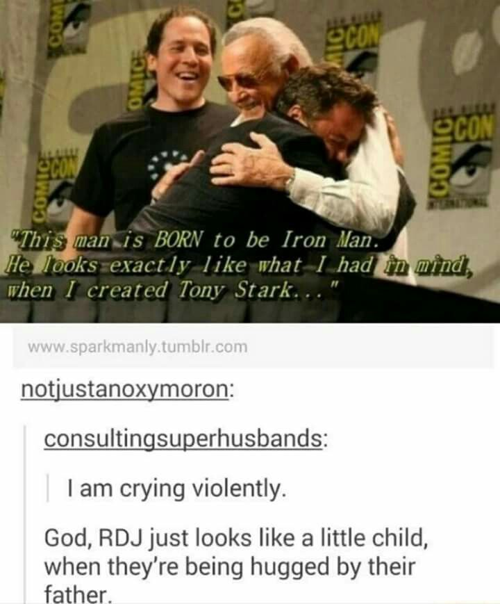 Because he is Tony Stark, and Tony's dad is Stan Lee.